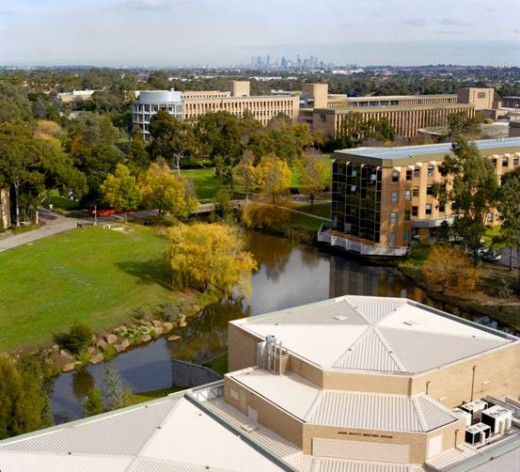 Aerial view of the La Trobe University Bundoora campus in Melbourne that covers an area of about 2 square kms.