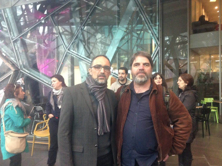 With Dimitris, who puts together poetry@fedsquare. Thanks for making my reading with Nick Tsiavos possible, Dimitris.