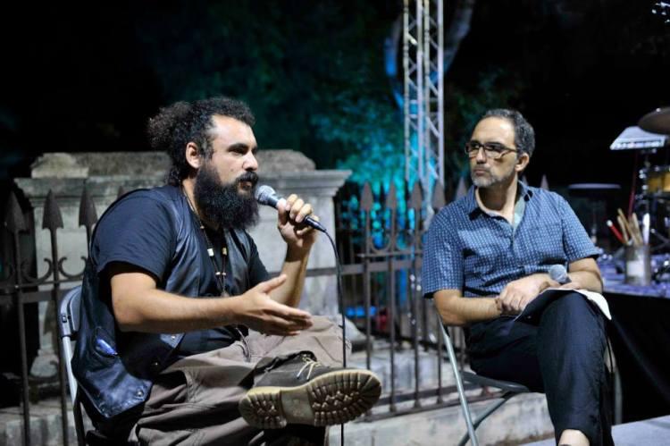 Giacomo Sferlazzo intervistat minn Adrian Grima. Ritratt ta' Gilbert Calleja. Festival Mediterranju tal-Letteratura ta' Malta, 2014 (4.9.14)