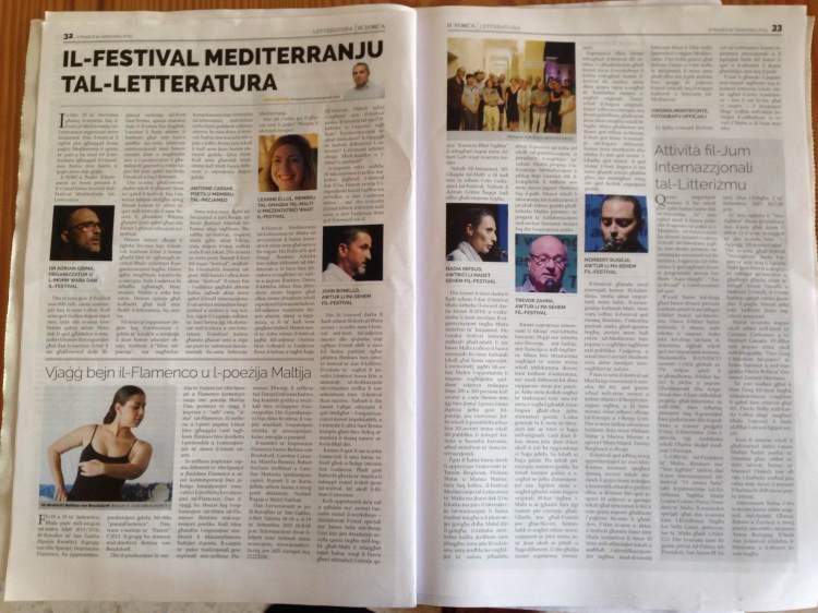 Artiklu ta' Omar Seguna dwar il-Festival li deher il-Ħadd 6 ta' Settembru f'It=Torċa, b'kummenti ta' wħud mill-protagonisti