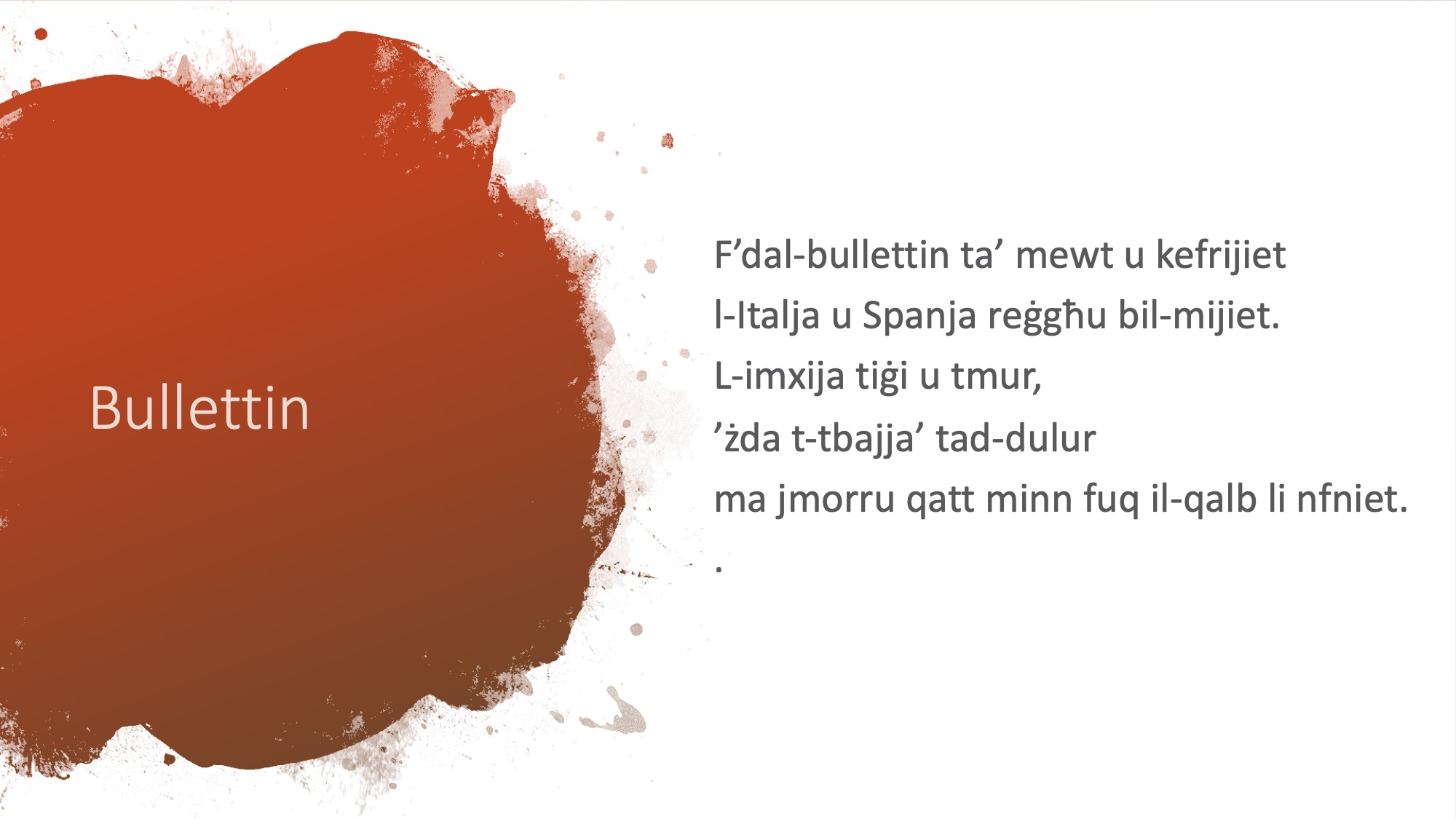 Il-Limerikki tal-Covid-19 - Bullettin 2